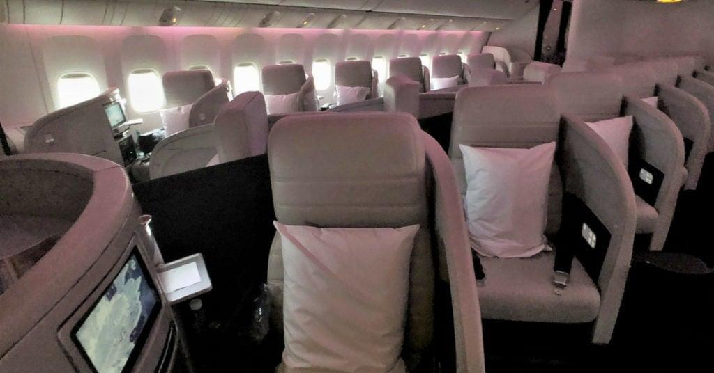 Air NZ business class cabin
