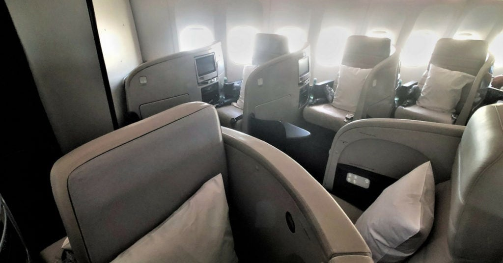 Air NZ business class cabin