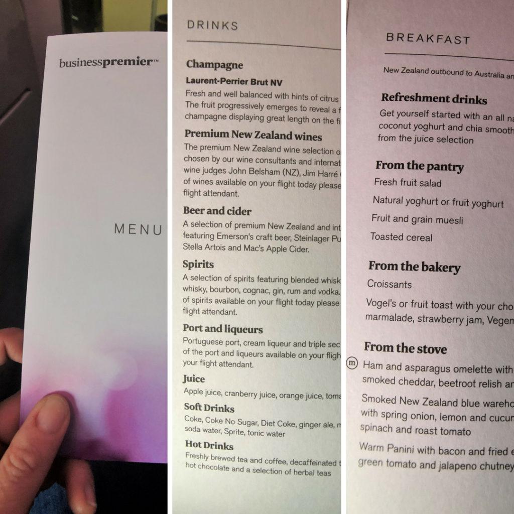 air new zealand business class menu