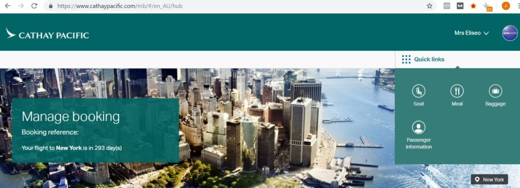 cathay pacific booking page