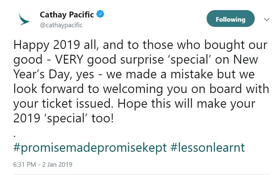 cathay pacific mistake fare