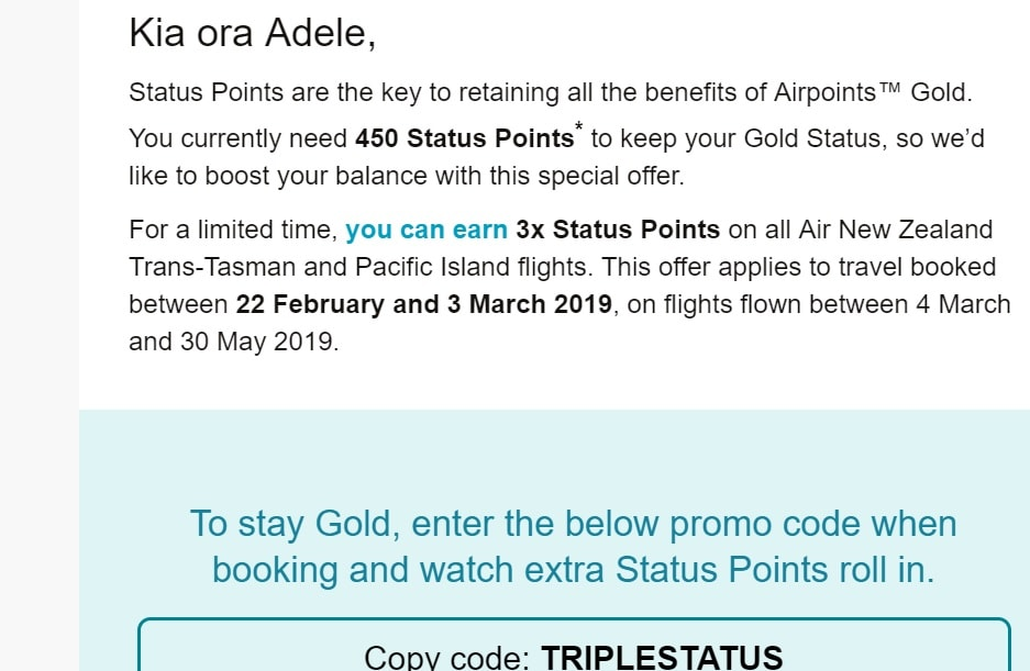 air new zealand triple status points