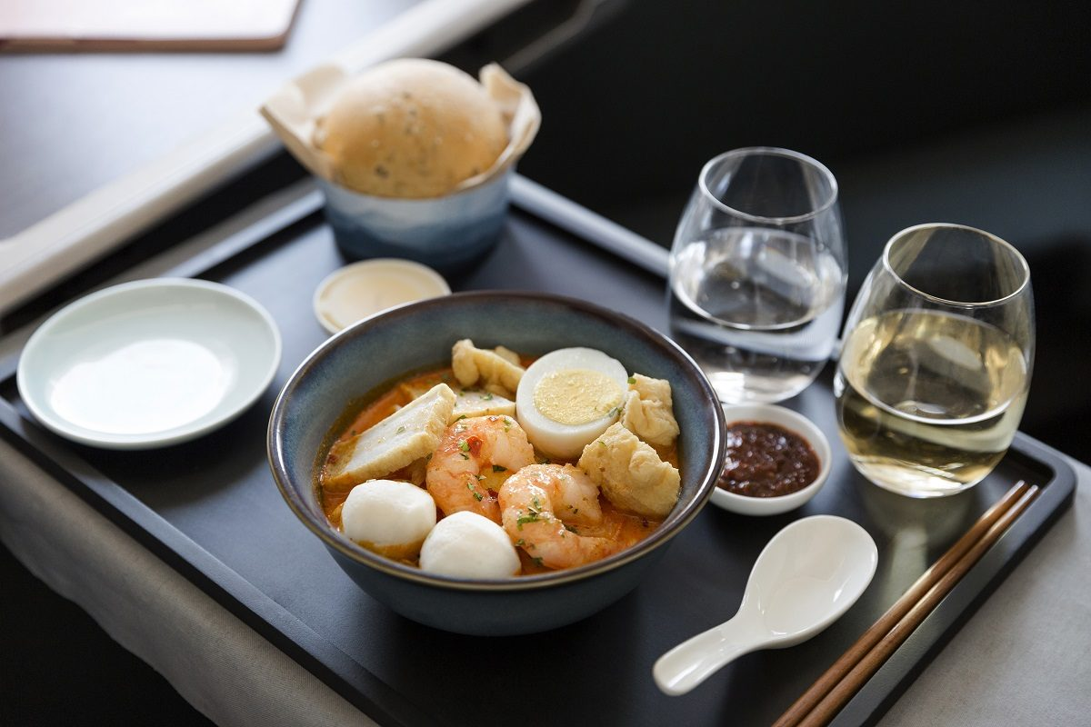 cathay pacific A350-1000 business class meal