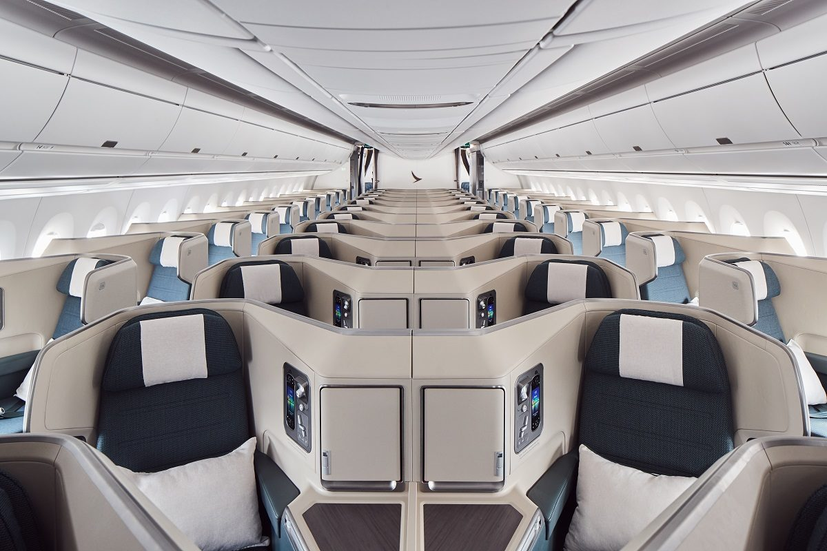 cathay pacific A350-1000 business class cabin